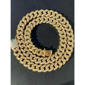 HarlemBling 14k Gold Solid 925 Silver 12mm Chain